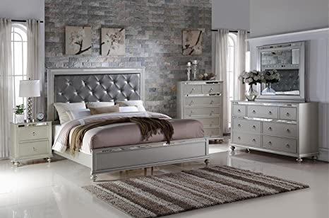 Amazon.com: Soflex Kiana Silver Grey Diamond Tufted ...