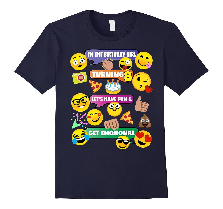 Girls Emoji Birthday Shirt Age 8 Party Theme Outfit