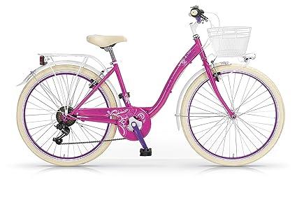MBM Fleur - Bicicleta de Paseo para Mujer de 6 velocidades, Cuadro de Acero Talla