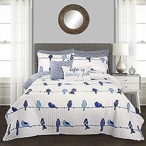 Lush Decor Rowley Birds 7 Piece Reversible Quilt Set, Full/Queen, Navy