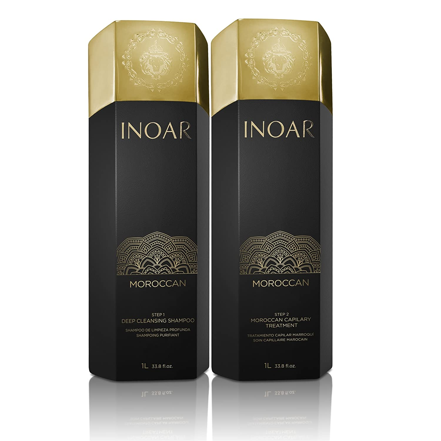 Inoar Morrocan Treatment Brazilian Blow Dry Treatment Set - 1 Litre x 2: Amazon.es: Salud y cuidado personal
