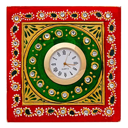Special Dealz Items for Home Decoration New Year Gift Analog Multicolor Marble Tabletop Clock