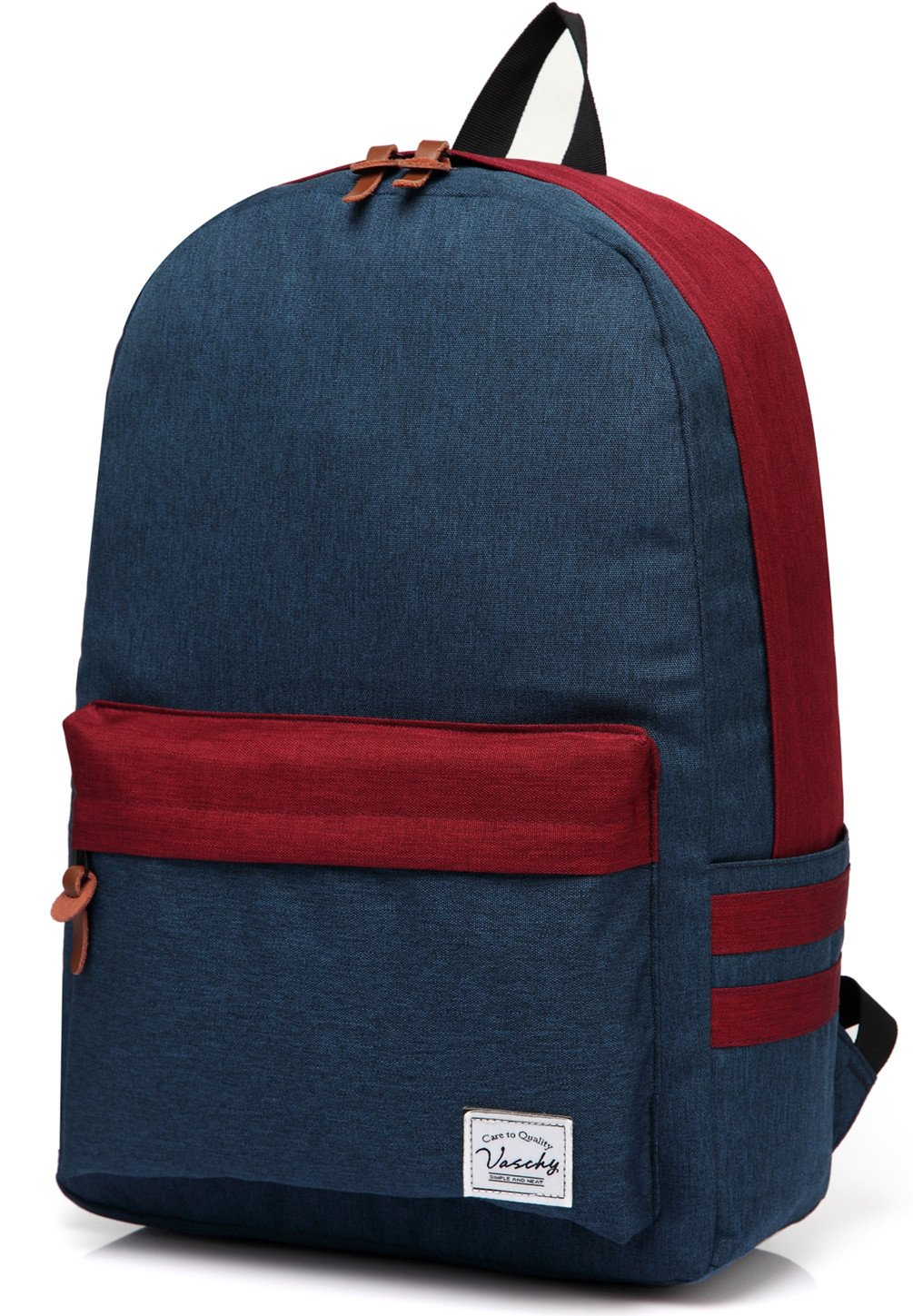 Vaschy Casual Backpack for School Teenager with 15.6 inch Laptop Sleeve Water Resistant Lightweight Rucksack Navy Blue