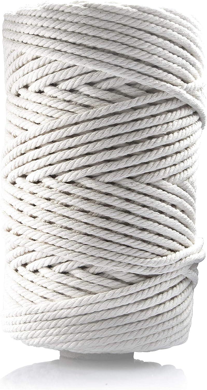Kit Corda di Cotone macramè Naturale Filo Cotone con 100 Perline di Legno 35 Anello di Legno 4 Bastone di Legno, Macrame Corda in Cotone Spago Bianco Set per Artigianato, 3mmx100mc