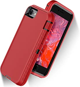 "ORIbox Defense Case for iPhone 7/8/SE 2020 (4.7""), Shockproof Anti-Fall Protective case, Update Strong Protection, Sports Style, Red, Single, Model Number: iPhone 7/8/SE 2020 Case"
