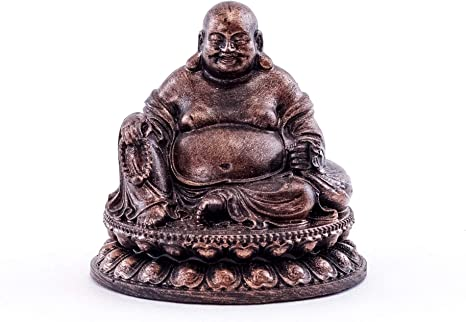 Top Collection Happy Buddha Meditation Statue Pearls Of Wisdom Big Belly Laughing Buddha Sculpture With Bronze Finish Look Hand Painted 2 Inch Mini Collectible East Asian Praying Buddhist Figurine Home Kitchen