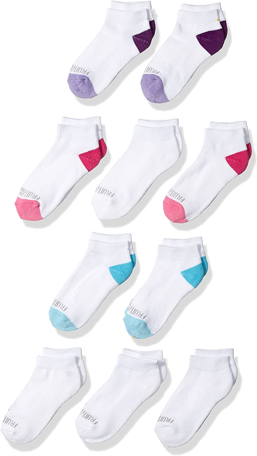 Fruit of the Loom Girls Little Everyday Essential Cushion Low Cut Socks (10 Pack): Clothing