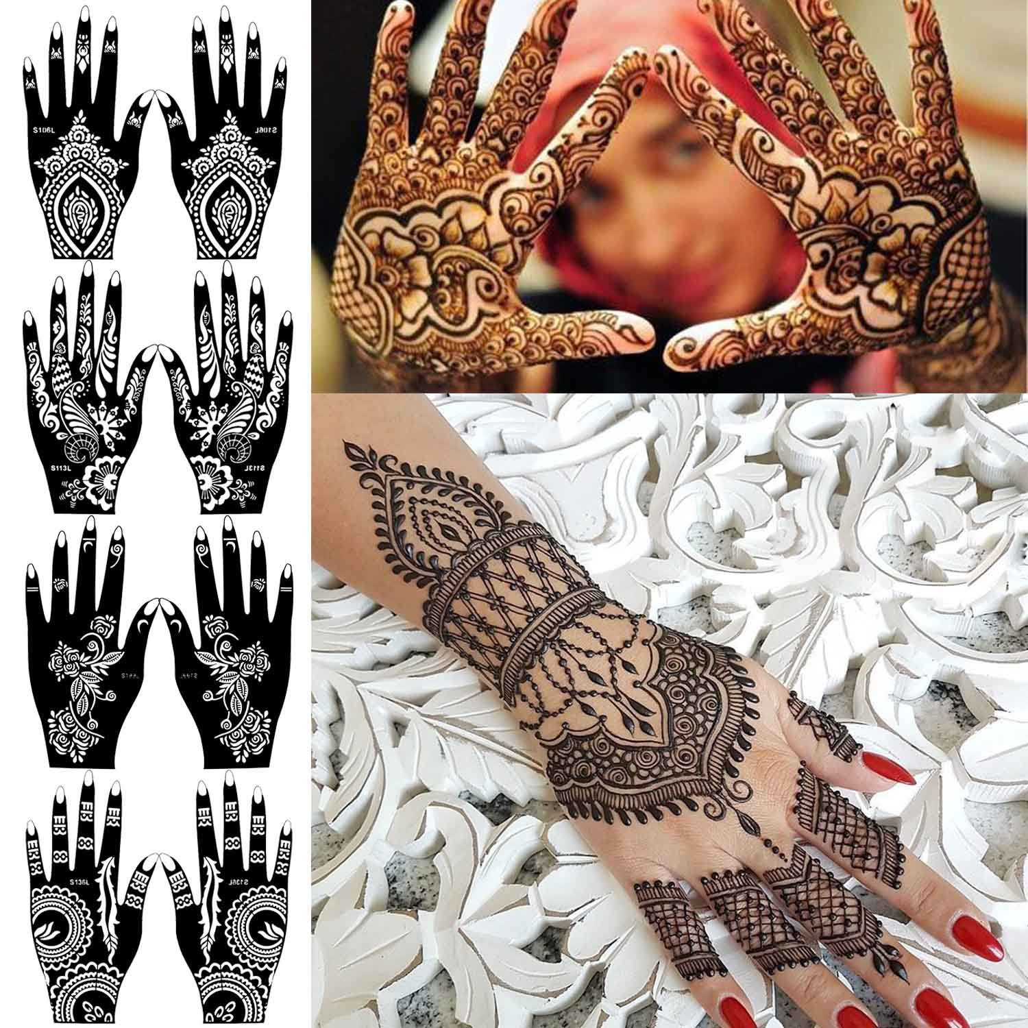 COKOHAPPY 8 Sheets Hand Indian Painting Stencil Tattoo Self,Adhesive Body  Art Designs for Hands , Temporary Indian Arabian Tattoo Reusable Stickers