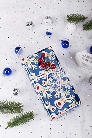 wrapaholic holiday gift wrapping paper blue winter scene with foil