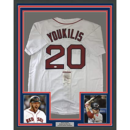 Framed Autographed/Signed Kevin Youkilis 33x42 Boston White Baseball ...
