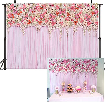 8x6ft Pink Flowers Flower Wall Turquoise Blue Baby Shower Princess Banner Photo Studio Birthday Party Wallpaper Photo Studio Wedding Cloth Family Portrait Cloth