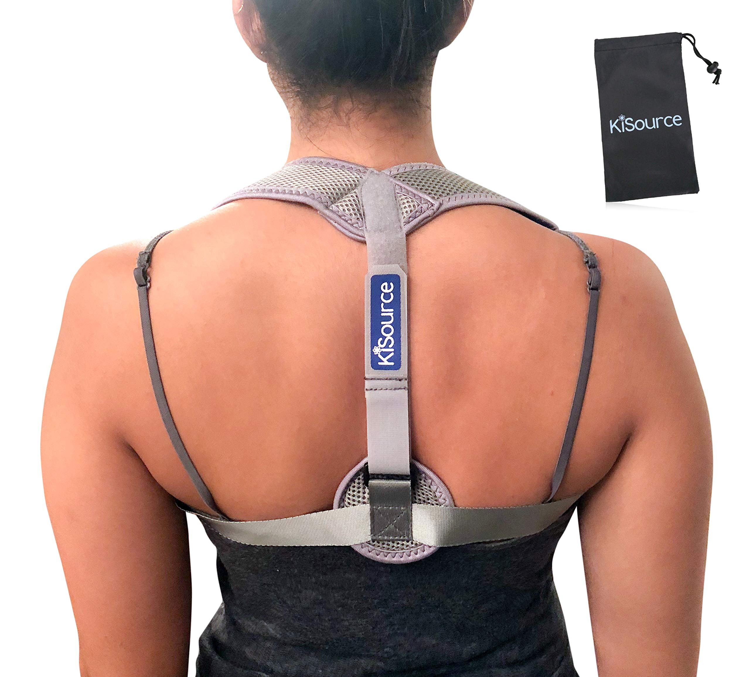 Back Posture Corrector for Men & Women | Comfortable & Discrete (Grey) Back Brace Provides Neck & Back Pain Relief | Improves & Straightens Posture