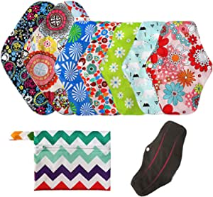 LEADSTAR Compresas Reutilizables, 7 Pcs Almohadilla Menstrual + 1 Wet Bag, Lavables Compresas de Tela, Almohadilla Sanitarias Panties para Flujo ...