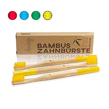 Amazy cepillo de dientes de bambu (3 unids. | amarillo) – Cepillo de