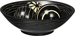 Koehler Home Decor Artisan Deco Centerpiece Wooden Bowl and Trio Balls