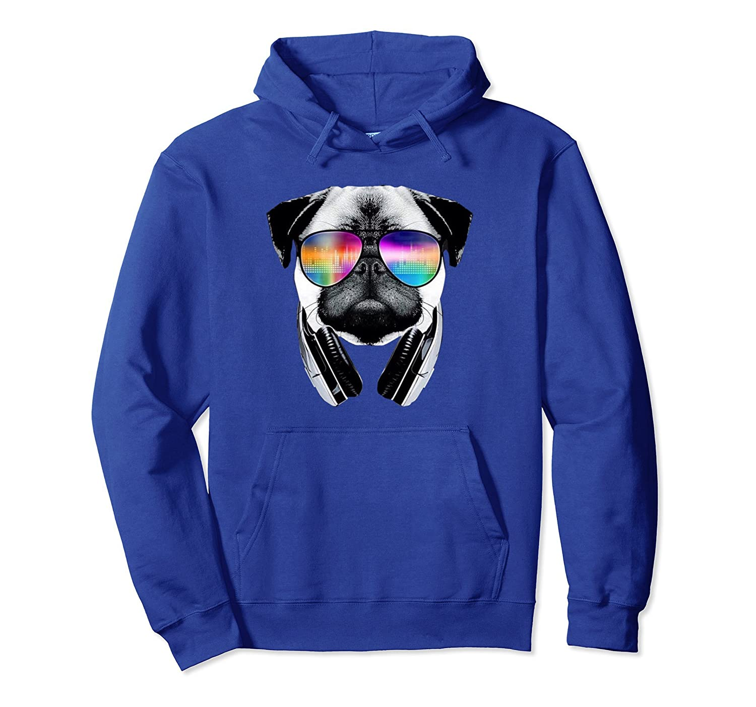 Trippy Pug Dog Wearing Music Equalizer Sunglasses Hoodie-AZP