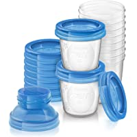 Philips Avent Breast Milk Storage Containers with Lids, 180ml, 10 Pack, SCF618/10