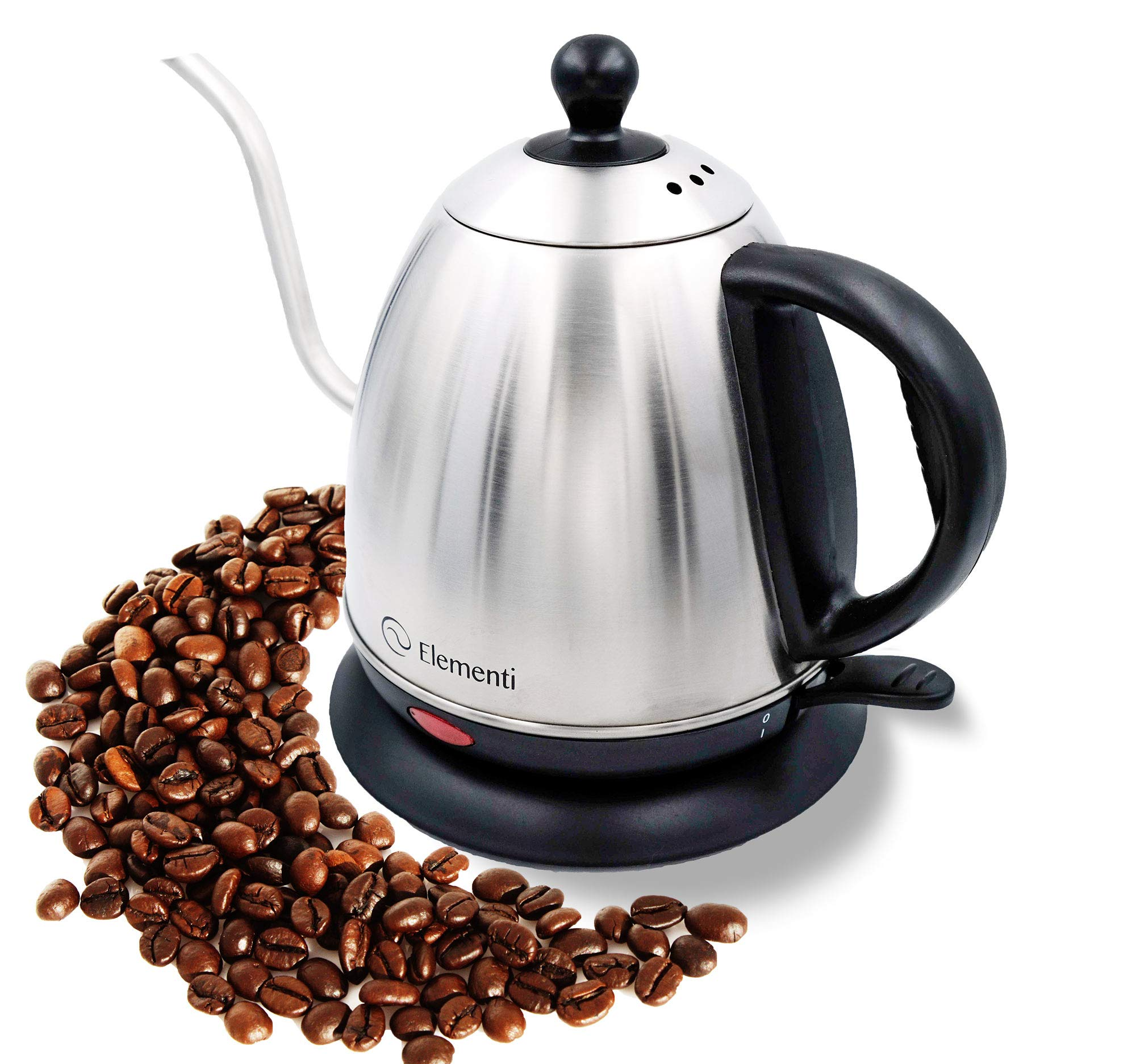 Elementi Premier Electric Gooseneck Kettle for Pour Over Coffee and Tea   1.0 Liter Stainless Steel Drip Kettle Teapot