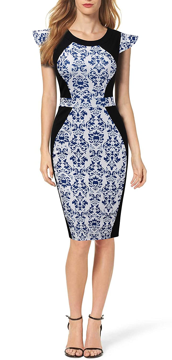 Mmondschein Womens Vintage Floral Cocktail Business Office Wear to Work Pencil Dress at Amazon Womens Clothing store: