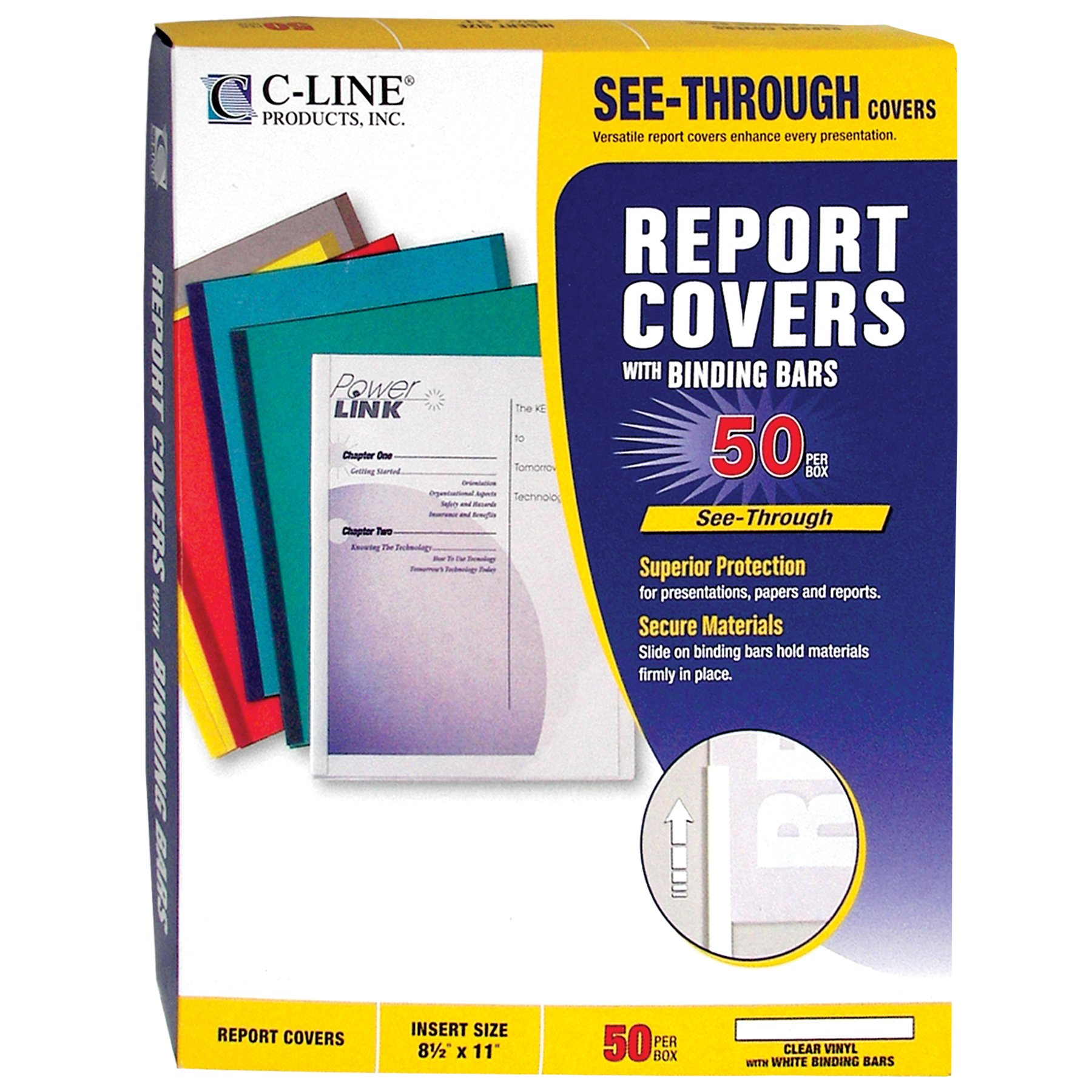 C-Line Report Covers with Binding Bars, Clear Vinyl, White Bars, 8.5 x 11 Inches, 50 per Box (32557) by C-Line (Image #5)