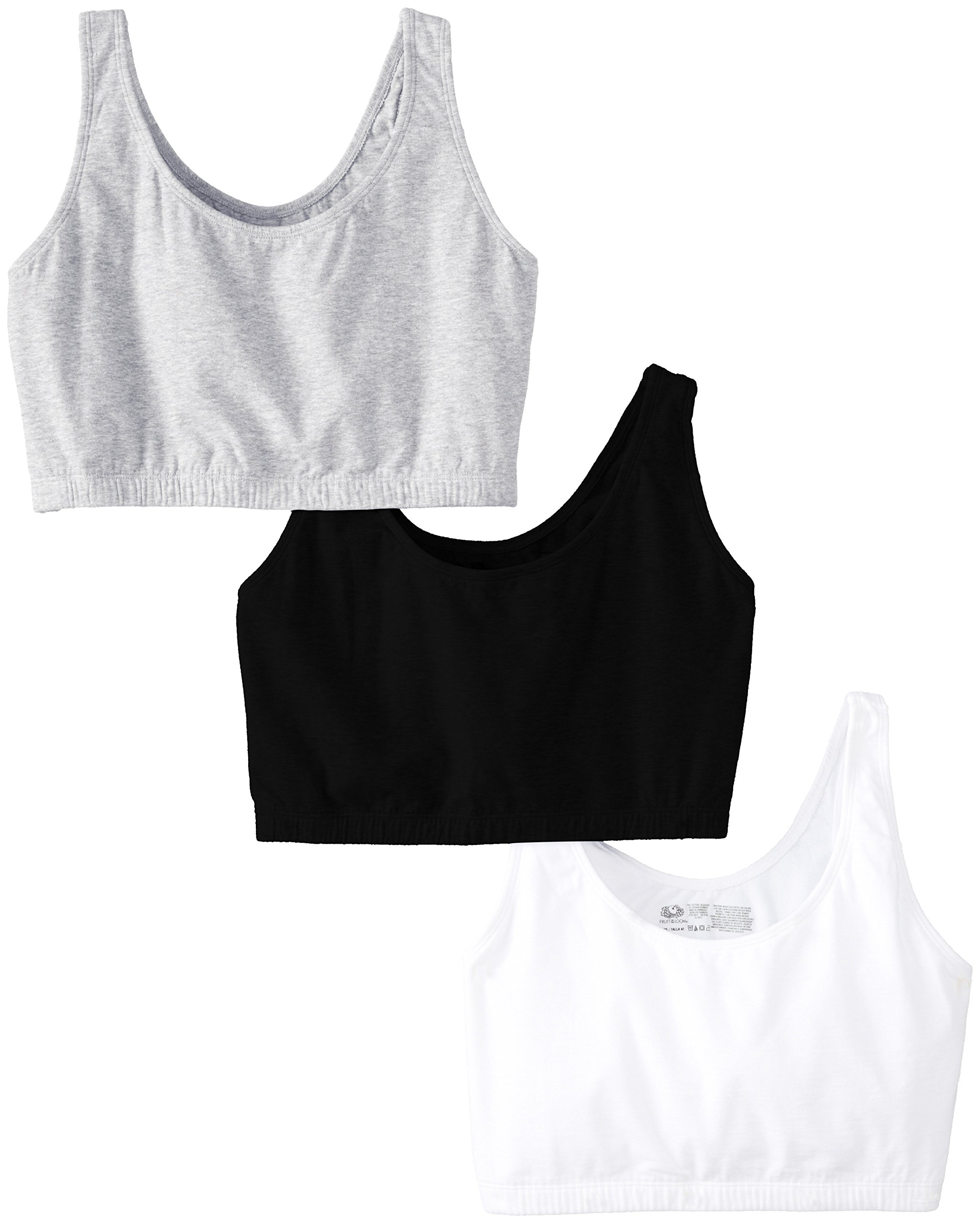Fruit of the Loom Womens Built-up Sports Bra, Black/White/Heather Grey, 48 by Fruit of the Loom