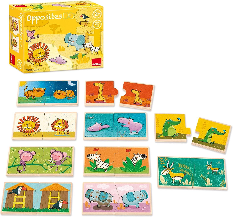 Goula 10 puzzles de 2 piezas de madera con animales de la selva , color/modelo surtido