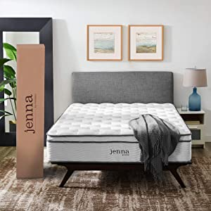 """Modway Jenna 14"""" California King Innerspring Mattress - Top Quality Quilted Pillow Top - Individually Encased Pocket Coils - 10-Year Warranty"""