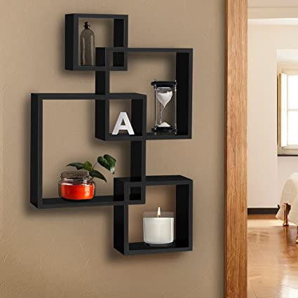 best choice products intersecting squares floating shelf wall mounted home decor furniture - Bookshelves Wall Mounted