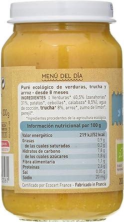 BabyBio Potito Verduras Trucha 200 Gr 200 Gramos - Linea Menu ...