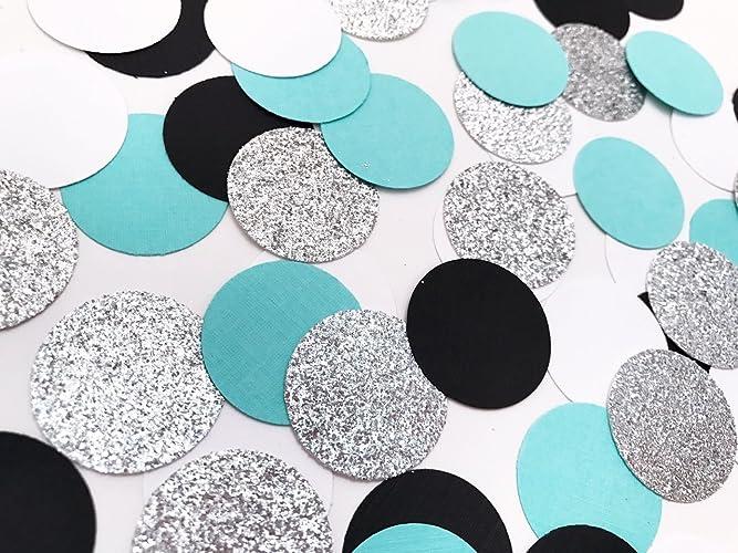 bridal shower confetti baby shower confetti aqua blue party confetti blue white black