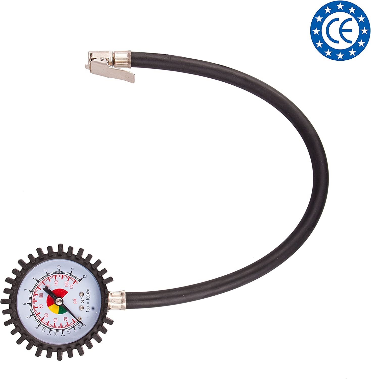 4CARS Tyre pressure gauge with flexible hose up to 15 BAR