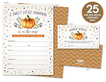 Sweet Little Pumpkin On The Way Rustic Fall Baby Shower Invitations And  Diaper Raffle Tickets In