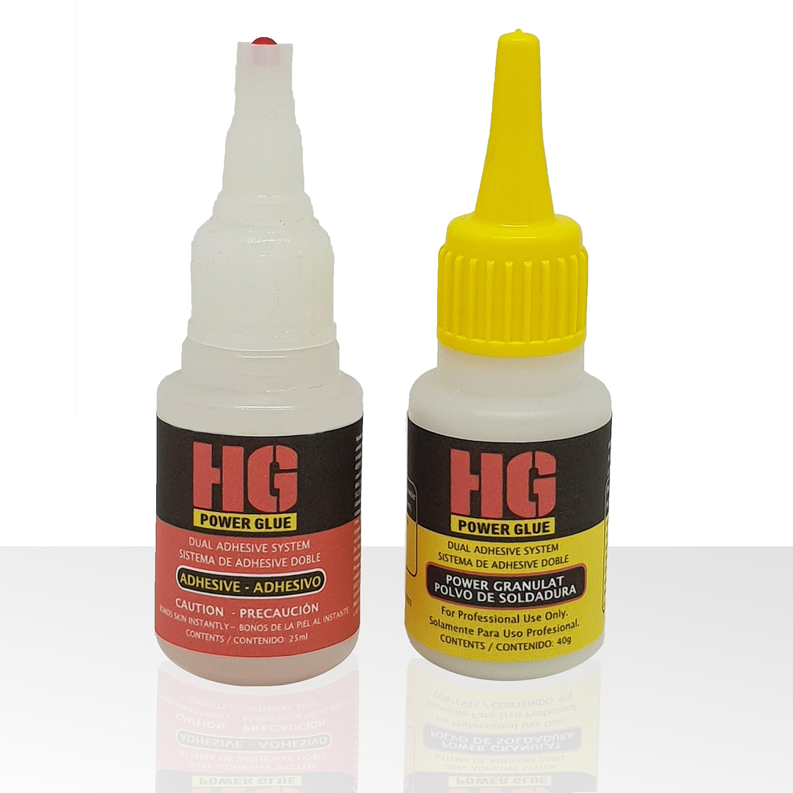 HG Power Glue - Clear Industrial Strength Glue with Powder, The Super-Glue for Nearly All Kind of Plastic, PVC, Wood, Metal and Many More, Also Perfect as Model Glue (1 Pack, 25ml+40g)