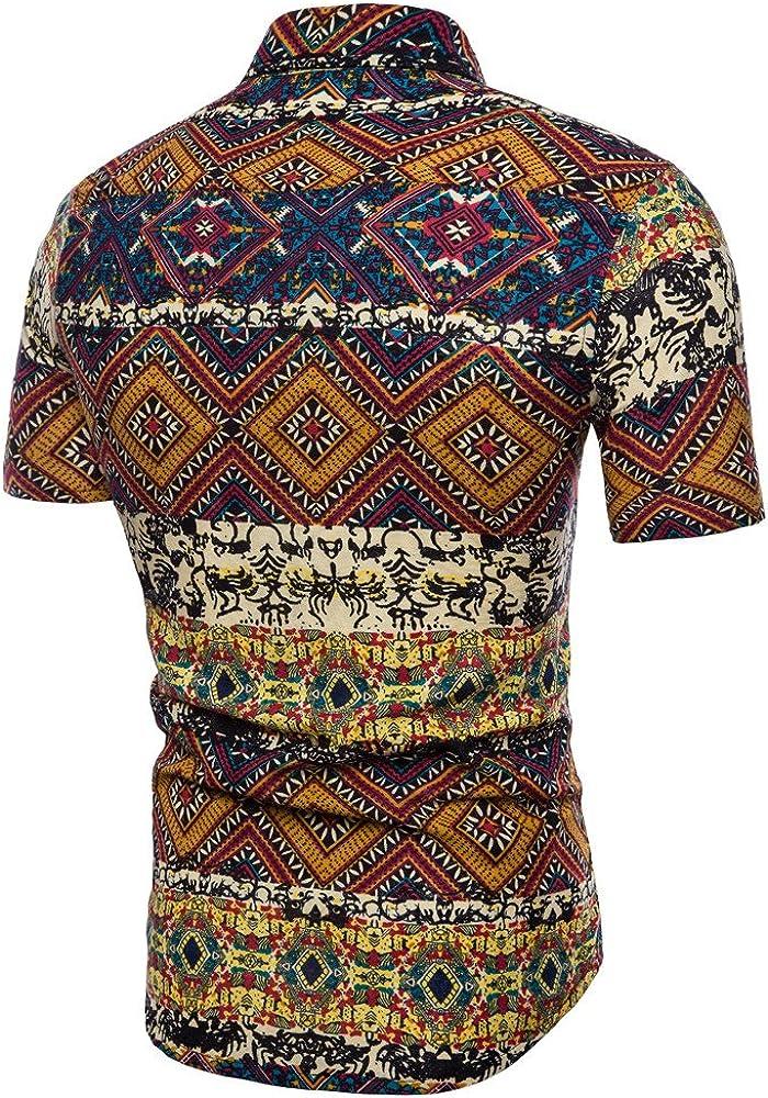Moginp Chemisette Hommes T Shirt Grande Taille Slim Chemise Imprim/ée /à Manches Courtes