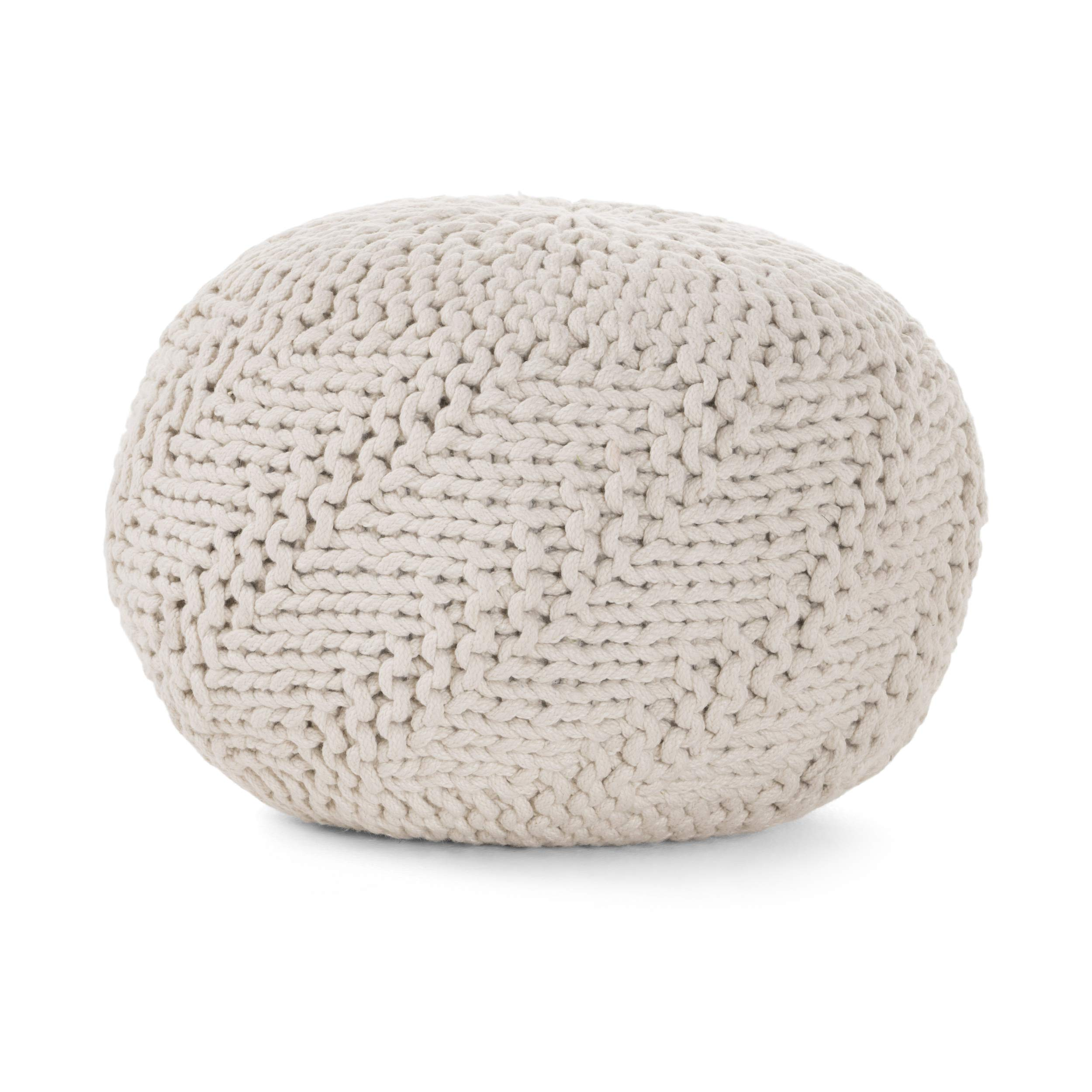 Haley Indoor/Outdoor Fabric Weave Pouf (Ivory)