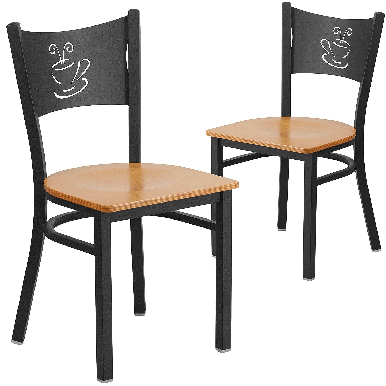 Flash Furniture 2 Pk. HERCULES Series Black Coffee Back Metal Restaurant Chair – Natural Wood Seat