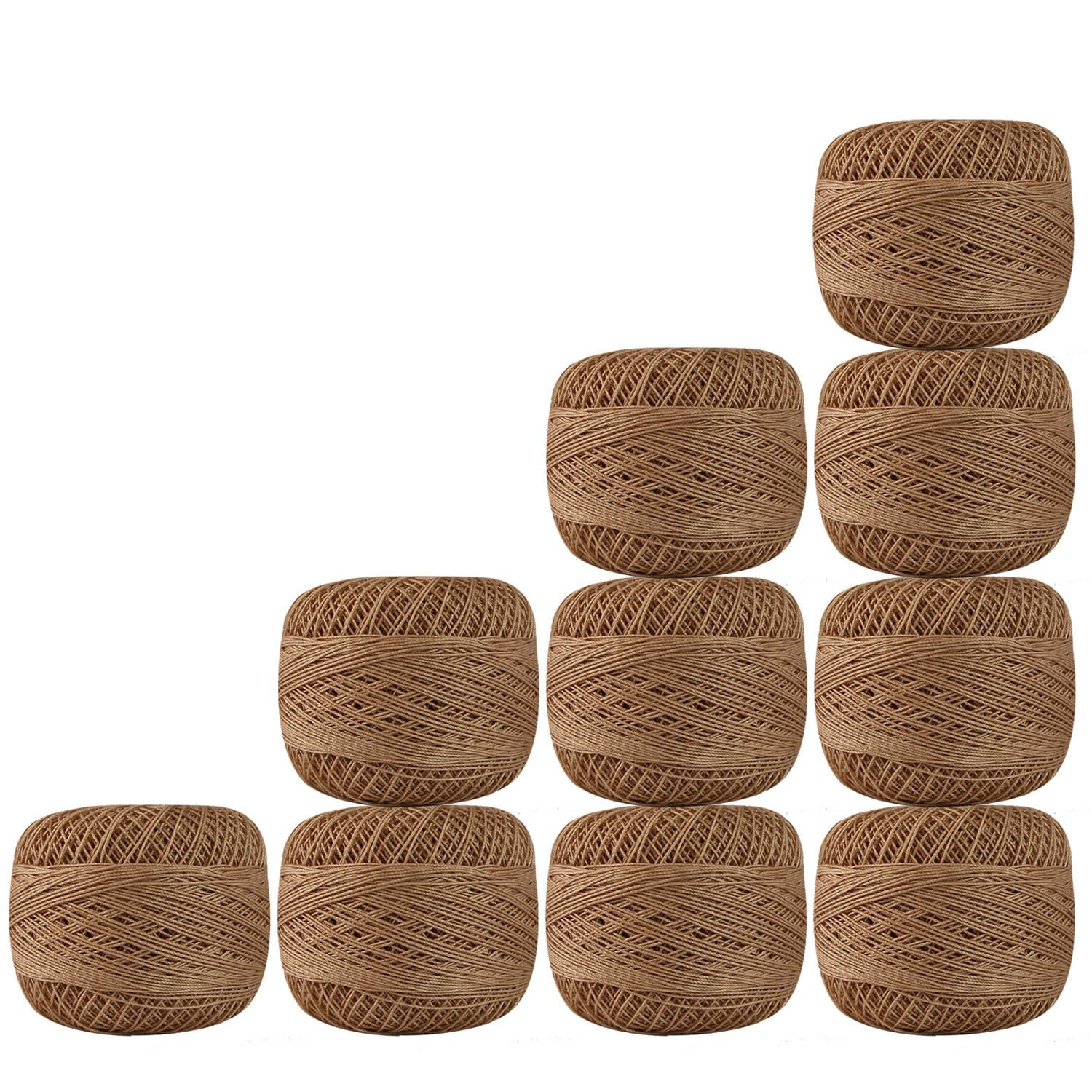 Set of 10 Pcs Light Brown Color Cotton Crochet Thread Cross Stitch Yarn Tatting Doilies Skeins Lacey Craft {159}
