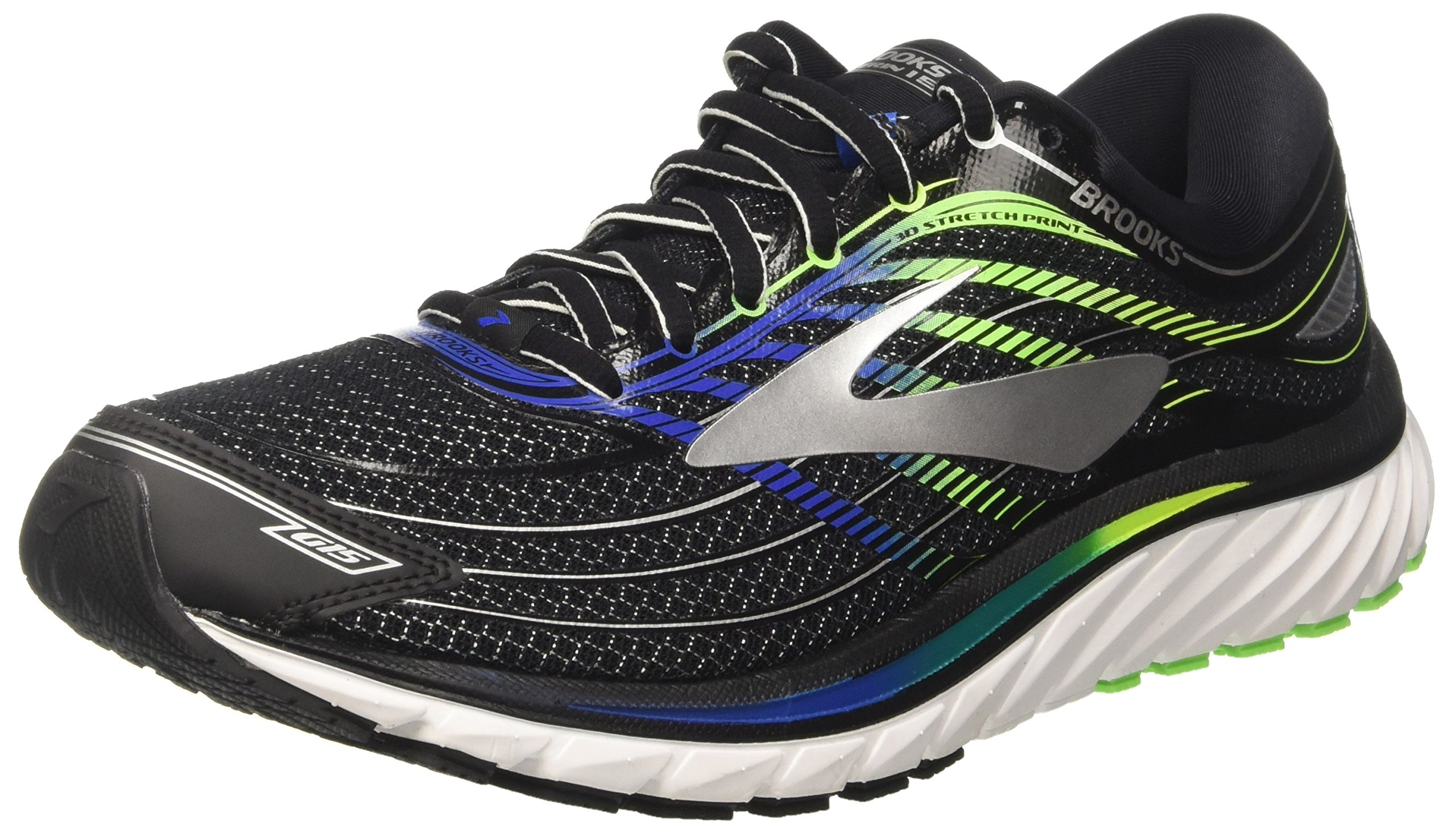 Brooks Men's Glycerin 15 Black/Electric Blue/Green Gecko 10.5 D US by Brooks