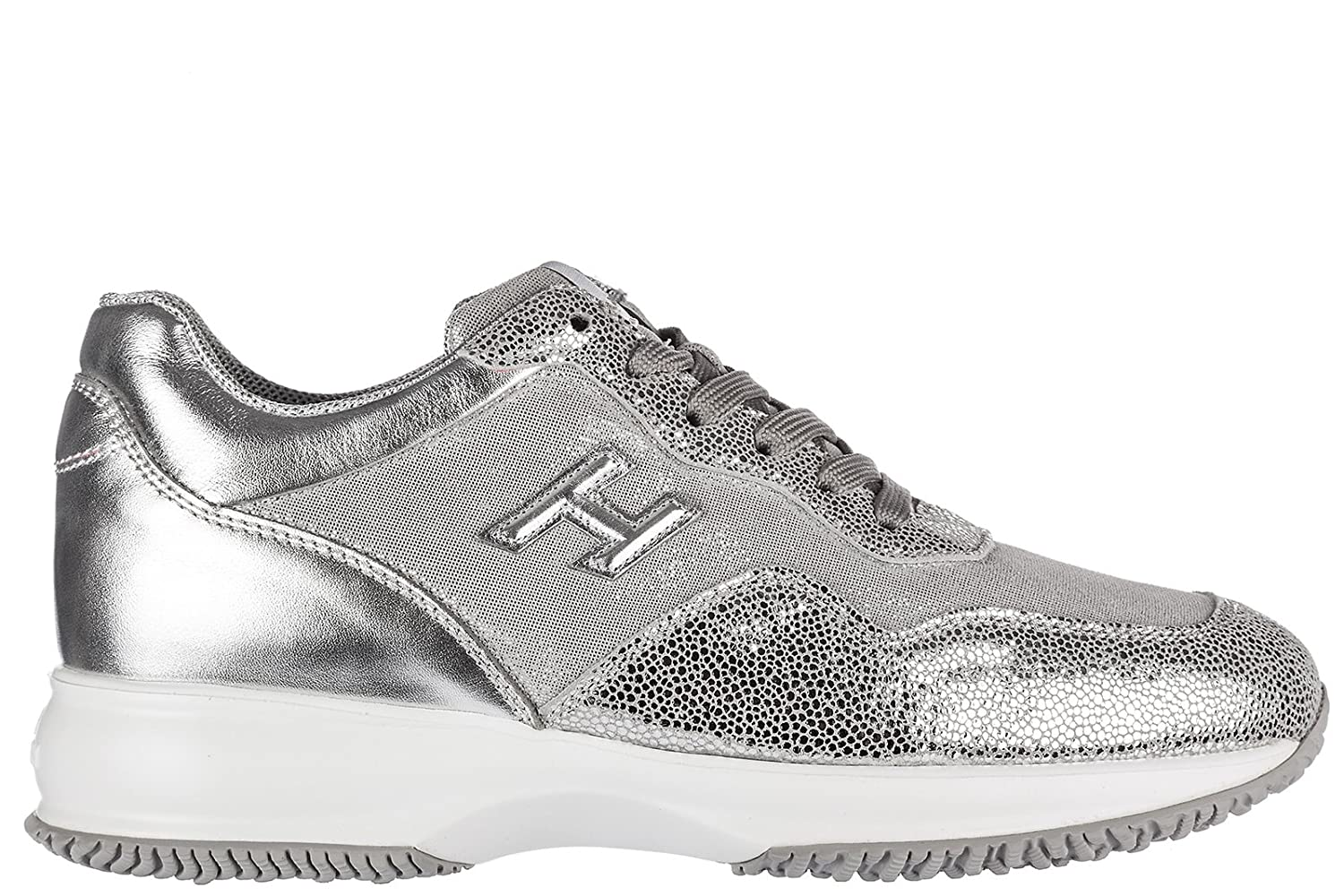 Amazon.com | Hogan Womens Shoes Leather Trainers Sneakers Interactive h3d Silver US Size 10 HXW00N0W661FPUB200 | Fashion Sneakers