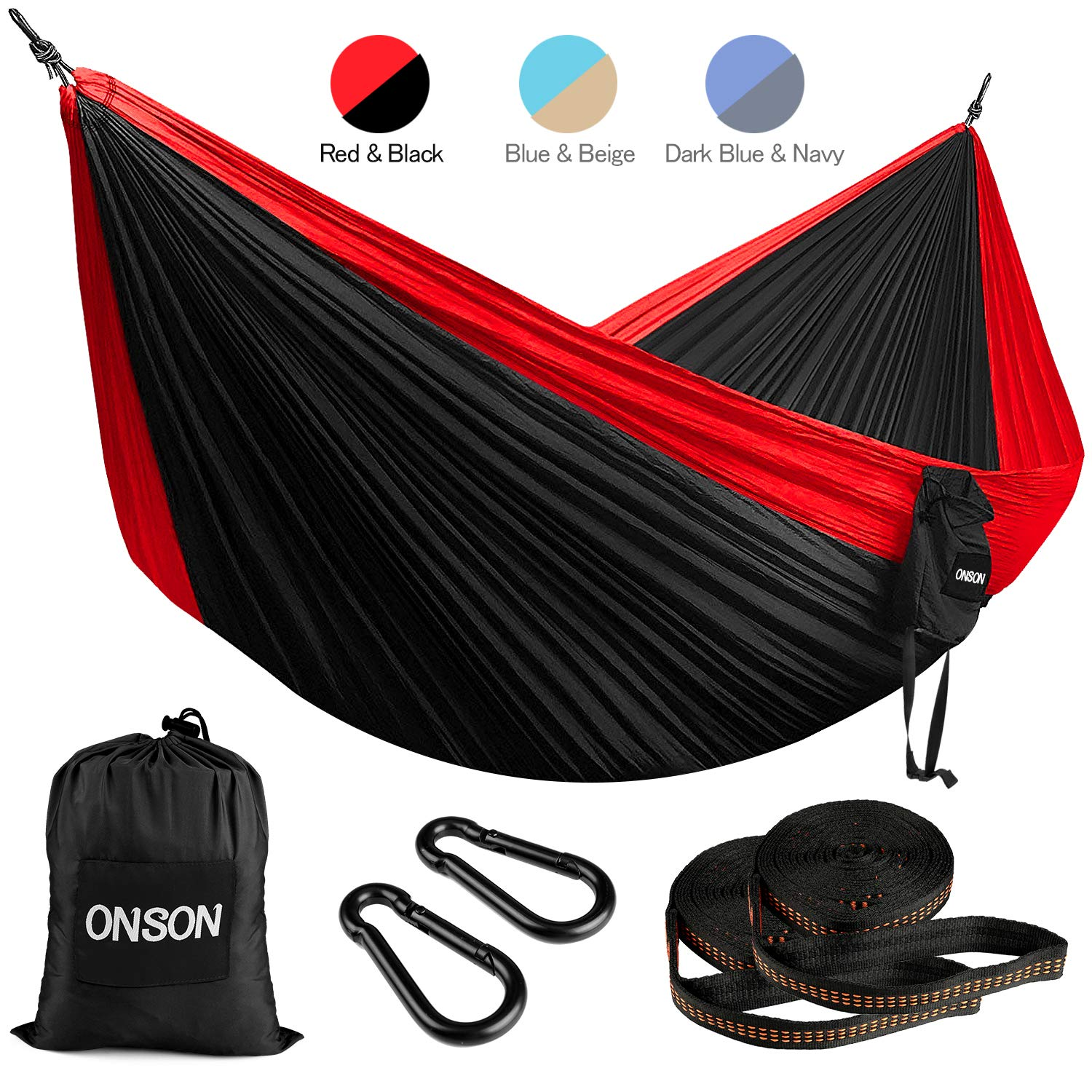 ONSON Camping Hammock, Lightweight Nylon Portable Hammock, Best Parachute Double Hammock for Outdoor Activities by ONSON