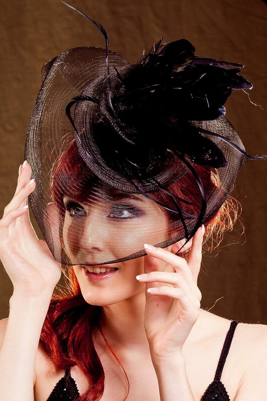 Elegant Big Flower Feather Bow Veil Fascinator Hair Clip//Cocktail Hat