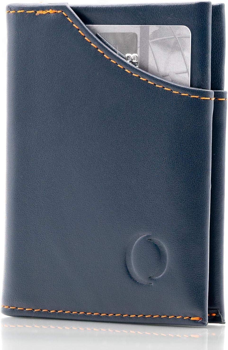 Cartera Hombre pequeña de Piel auténtica - Cartera Minimalista con protección RFID, Espacio para 9 Tarjetas y Billetes, Regalos para Hombre, Azul