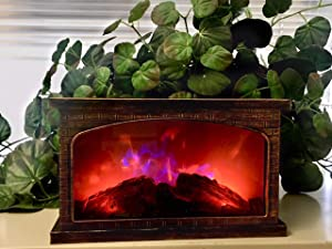 ELYYT 2 Color LED Fireplace Faux Flame Lantern-Holiday Decor- Battery Operated with Timer-Portable-Indoor/Outdoor(Antique Gold Rectangle)