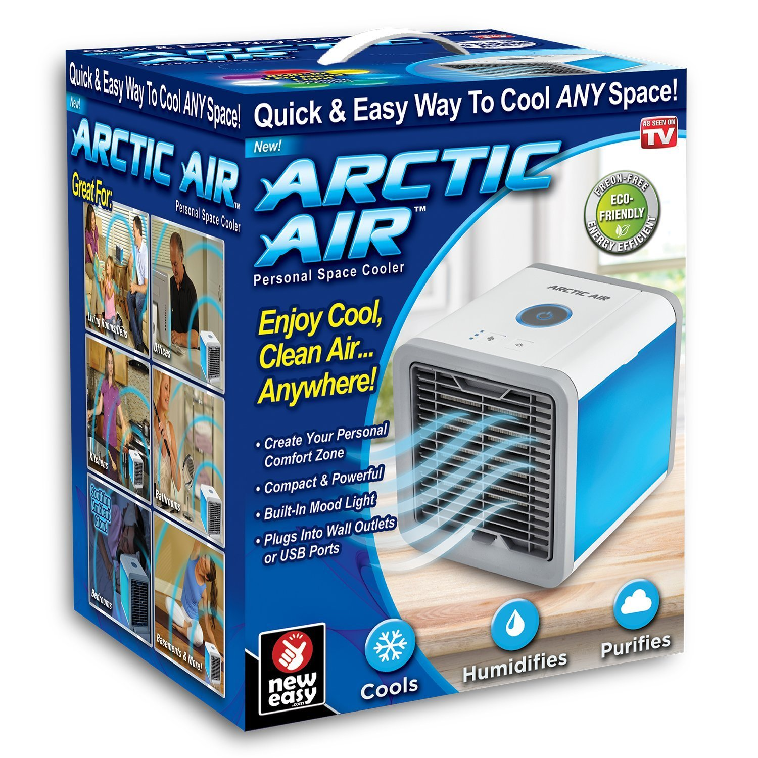 Arctic AIR Personal Space Cooler | Portable Mini Air Conditioner | Cools Humidifies and Purifies Air | Built in LED Lights | USB Port | As Seen On TV