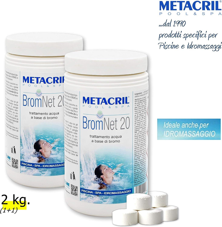 Metacril Bromo de Lento en Pastillas de 20 g. 2 kg – Brom Net 20 1 kg. 2 Unidades. para Piscina y hidromasaje (Teuco, Jacuzzi,Dimhora, Intex,Bestway, ECC).