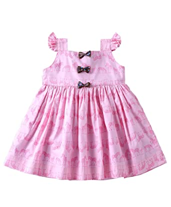 1a9341dcc1b12 Mom's Girl Dresses Baby Pink Zebra Printed Frock with Bows, Girls Frocks, Party  wear Dresses, New Born Dresses(12-18 Months): Amazon.in: Clothing & ...
