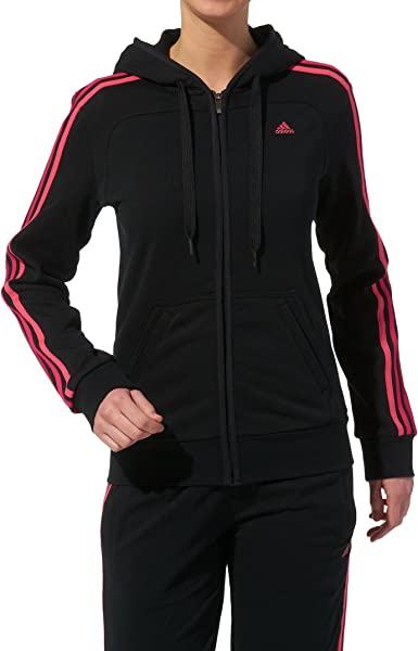 Buzo deportivo, con 3 rayas, totalmente de algodón, de Adidas, esencial para las mujeres, con capucha y cremallera completa., negro / rosa: adidas: Amazon.es: Deportes y aire libre