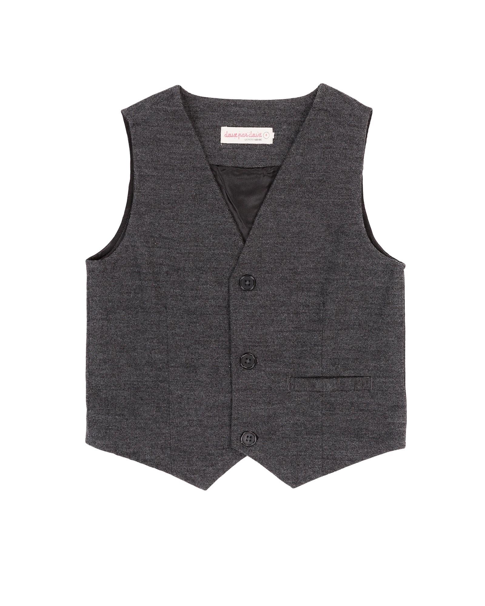 Deux par Deux Boys' Charcoal Vest Suit up, Sizes 2-12 - 6