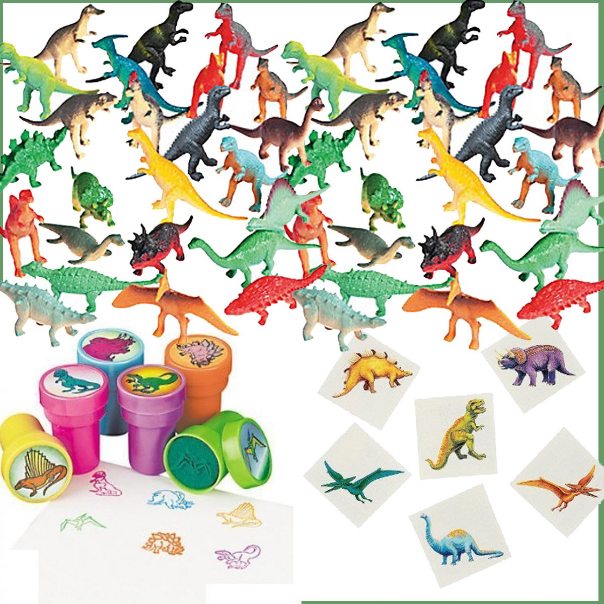 168 Piece Dinosaur Birthday Party Favors for 24 Kids - 24 Dinosaur Stampers, 72 Dinosaur Tattoos, 72 Dinosaur Mini Figures plus Party Game Ideas by Dinosaur Party Favors
