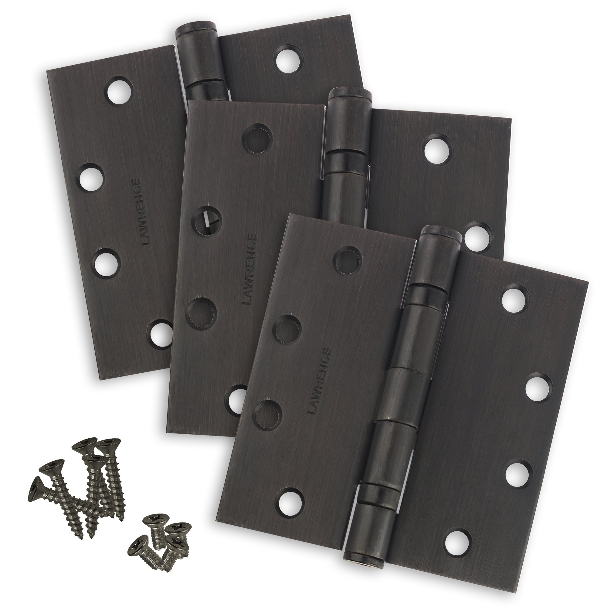 """Commercial Ball Bearing Door Hinges, Standard Weight, Oil Rubbed Bronze (US10B), 4.5"""" x 4.5"""", 3 Pack, by Lawrence Hardware"""